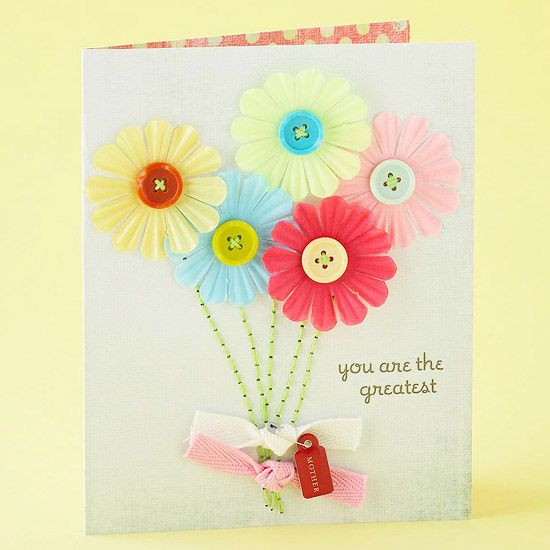 Make mom this bright and cheerful card. More Mother's Day cards here: www.bhg.com/...
