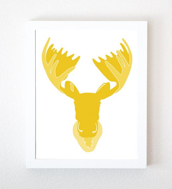Moose Head Graphic Art Print