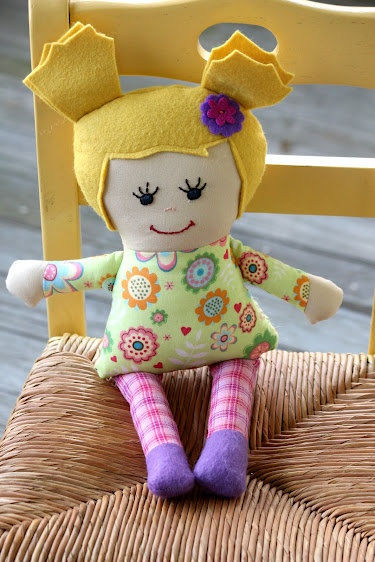 Miss Madi - handmade fabric doll - pink and green flowers