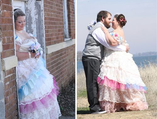 Funest of the Fun wedding dresses - love it! #wedding #dress #unique #alternative #colorful #pink #ruffle #lace