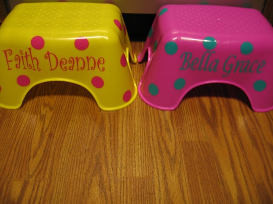 stool with Vinyl Name Decal plus Dots