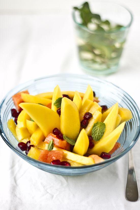 mango, papaya & pomegranate fruit salad with fresh mint