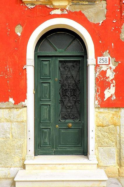 Door: green on orange ~