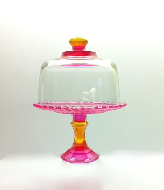 Hand Painted Cupcake Stand and Dome. $30.00, via Etsy.
