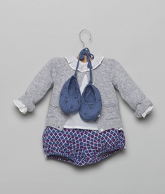 Nicoli - beautiful blue & grey baby girl outfit #babygirl