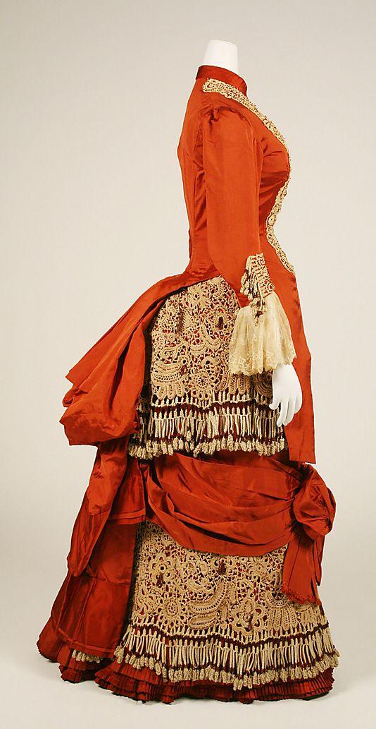 Dress  Date: ca. 1880 Culture: American Medium: silk, cotton, glass