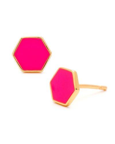 Neon Pink Electric Hexagon Studs