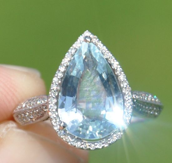 GIA Certified Unheated Estate 3.40 Carat Aquamarine & Diamond Ring 14kt Solid Gold / Appraisal. $2,000.00, via Etsy.