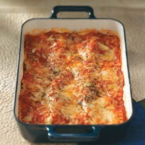 Makeover Beef & Sausage Lasagna Recipe from Taste of Home #healthy  #diabetic_friendly