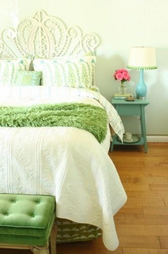 Green & blue bedroom.