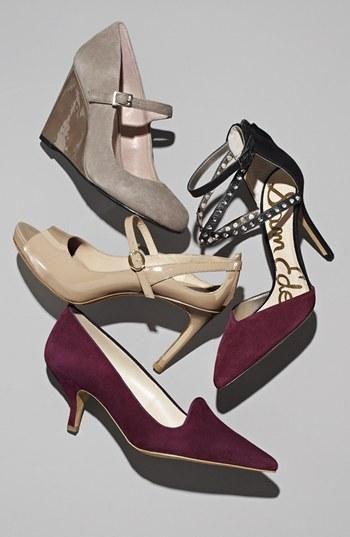 Grey pumps, purple heels!