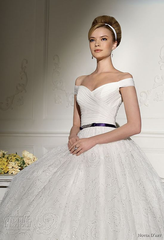 Novia D'art wedding dress 2011 bridal collection - off-shoulder ballgown with purple belt