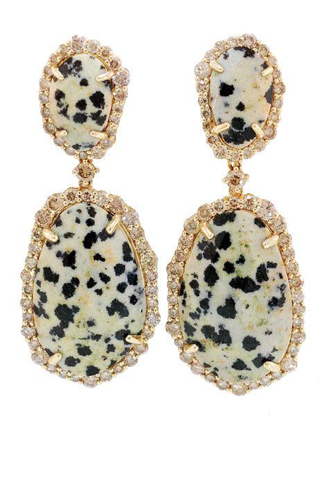 Jasper and Champagne Diamond Earrings