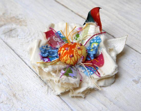 OOAK Cololrful Flower Brooch Handmade Fabric Flower Pin by odpaam