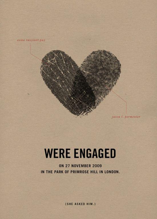 Fingerprint wedding announcement