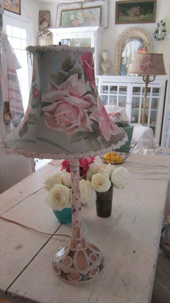 Beautiful light pink hand painted roses by Vintagewhitecottage