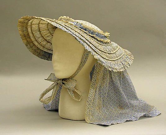 """Mid-19th century hat of cotton and metal. This reminds me of the fashion plates featuring hats for the """"Watering Place""""."""