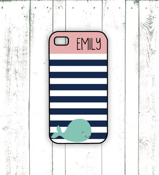 Whale iPhone Case - Monogrammed iPhone Case in Pink and Navy  - Striped iPhone Case with Whale