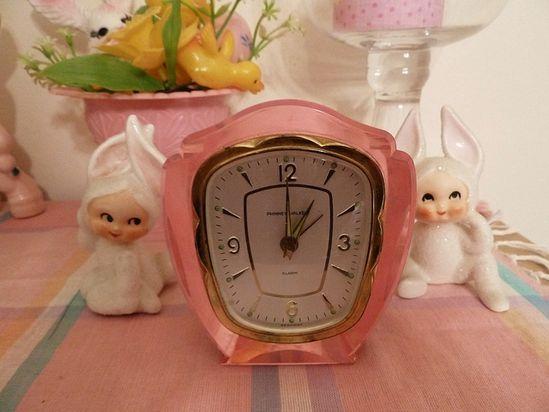 pink vintage clock