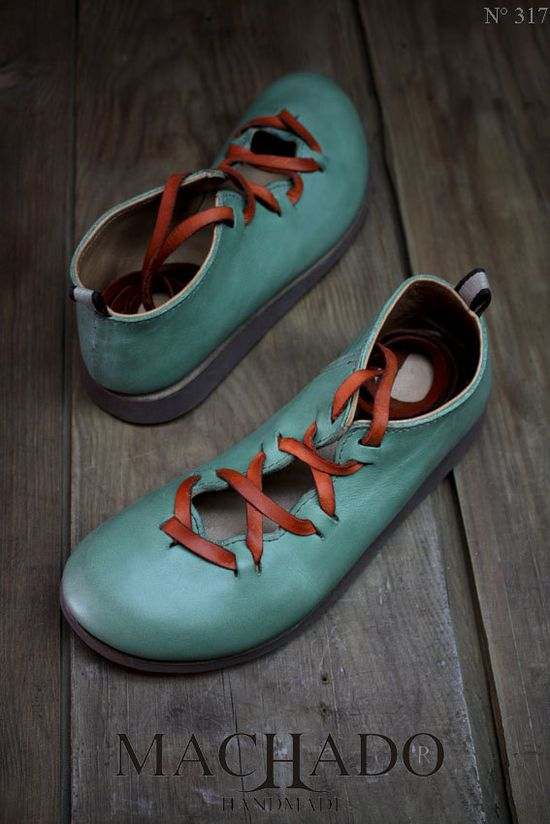 handmade Machado shoes  Love the robin's egg and rust