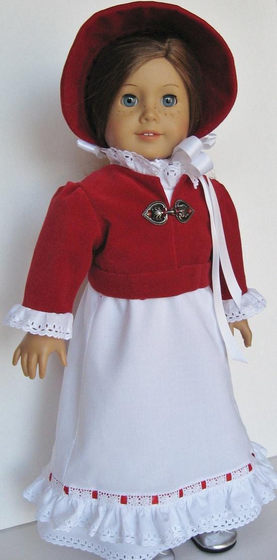 Christmas Gown, Spencer and Bonnet for American Girl Doll Caroline. $69.00, via Etsy.