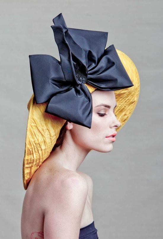 Big blue bow!  #hat, bow on hat, blue, yellow, blue and yellow, couture, fashion statement, bold
