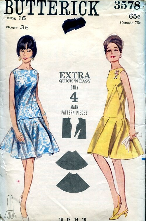 Butterick 3578 Retro 1960's Mod Dress 4pc 36