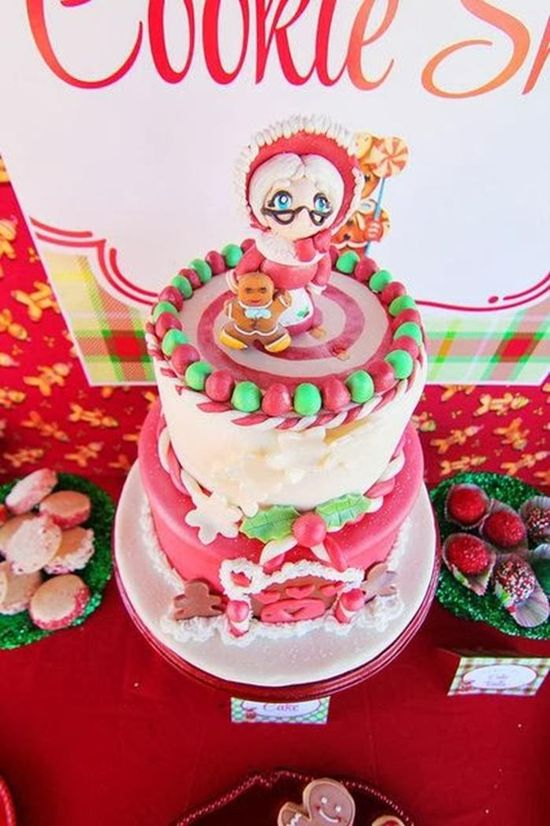 Such a cute cake at a Mrs. Claus Cookie Shop Party with REALLY CUTE IDEAS via Kara's Party Ideas