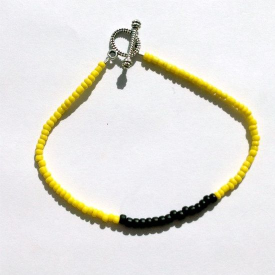 Yellow and Black Bracelet Silver Jewelry Skinny by cdjali on Etsy, $12.00