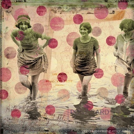 Pink Polkadots Flapper Friends Mixed Media Collage