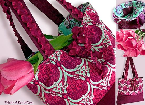 Happy Mother's Day: Market Tote With Ruffly Ribbon Handles & Ties