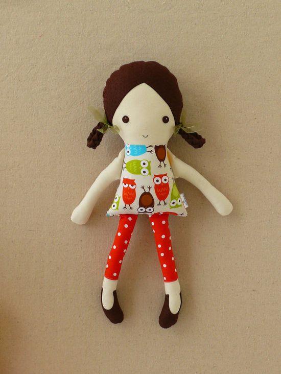 Fabric Doll Rag Doll with Owl Print Dress. $32.00, via Etsy.
