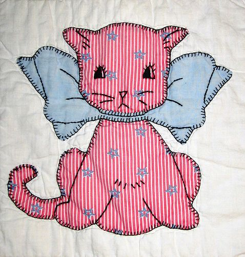 cat quilt by bibliobird, via Flickr