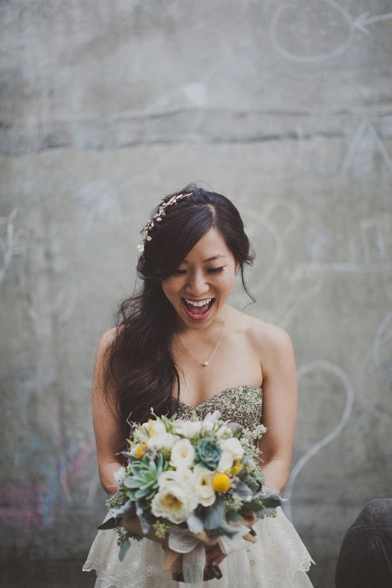 succulent wedding bouquets, bride's dress and hairpin BHLDN