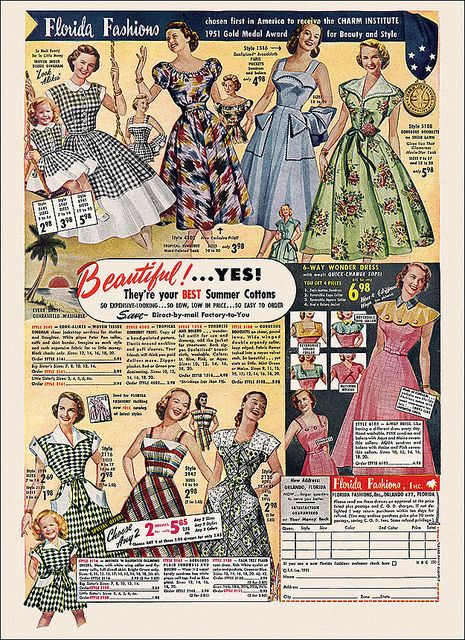 beautiful summer dresses featured in this catalog page from 1951
