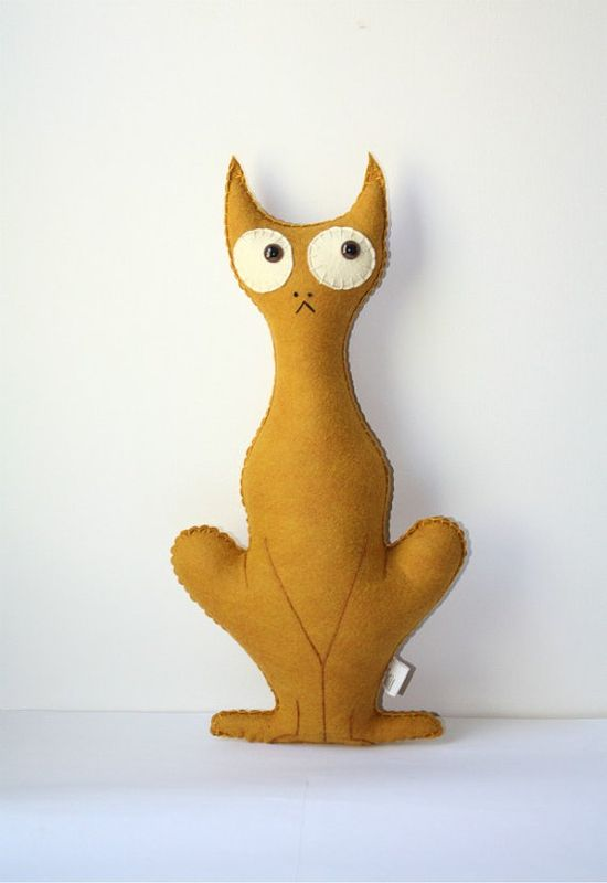 Cat Felt Plush Stuffed Animal Pillow, Cat Stuffed Animal, Felt Animal Plush, Gold Yellow Felt Toy Kitten
