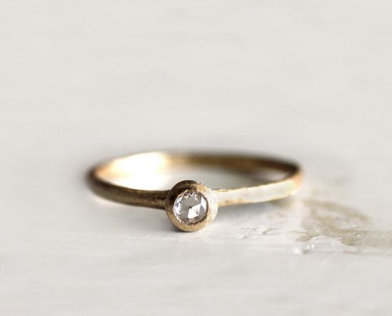 Rose cut diamond ring. A simple engagement ring. 18k. Milk.