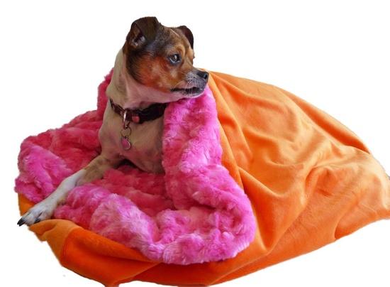 Snuggle Pup Soft Sleeping Bag for your Dog, Pink/Orange Minky. $58.00, via Etsy.