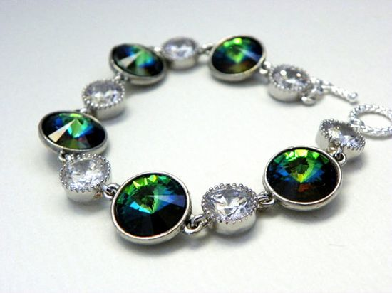 Peacock Wedding Bracelet By Estylo Jewelry #peacock #wedding