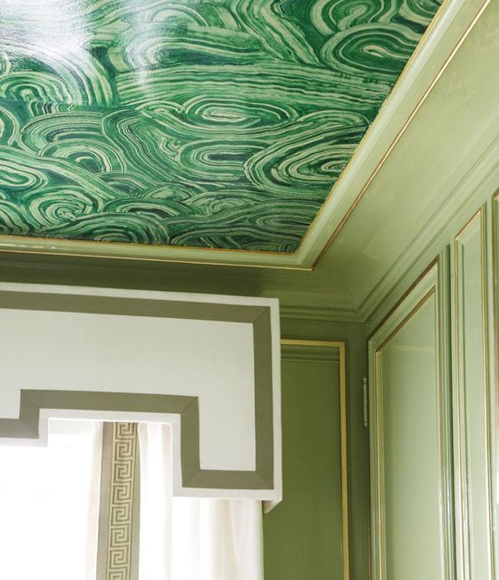 stylish patina www.stylishpatina...  lacquered wall in Saxon Green by Farrow and Ball and trimmed molding in gold // ceiling painted a #malachite mural #green #home decorating before and after #modern home design #home interior design 2012 #modern house design #home design