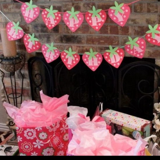 Strawberry Birthday banner I made for my daughter's Strawberry Shortcake party
