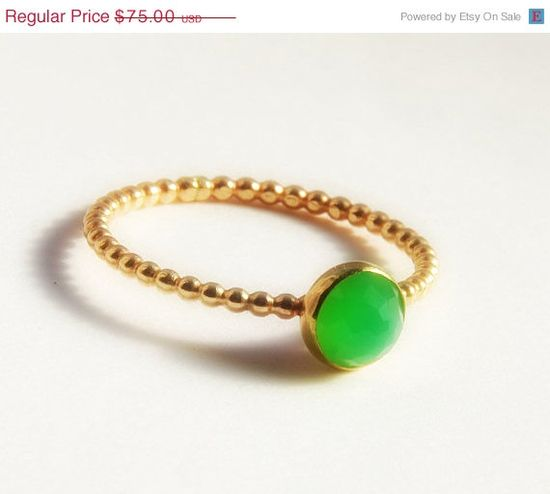 Dainty Jewelry Rose Cut Chrysoprase Ring by SecretCharm
