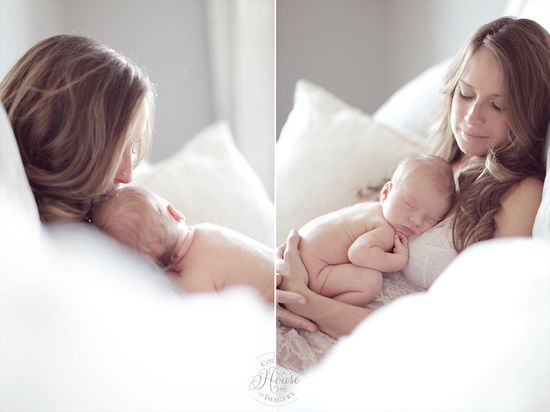 Mommy and baby. Love this newborn shoot.