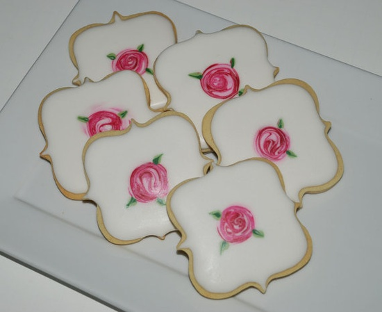 Shabby Chic Roses Fancy Plaque Cookies - One Dozen Decorated Cookies