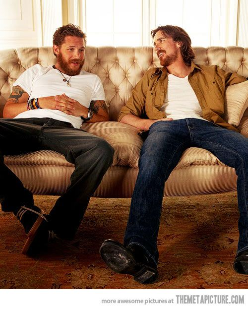 Just Bane and Batman hanging out on the couch, growing their beards.