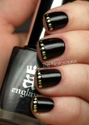 Studded Manicure, French Manicure / Black Gold