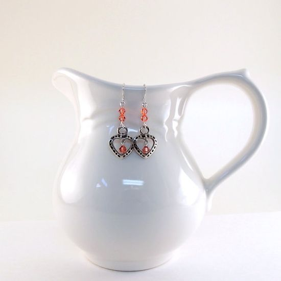 Padparadsha Heart Earrings Swarovski Silver by CinLynnBoutique, $17.00