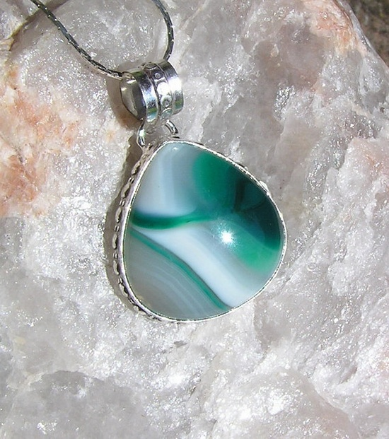 Green Striped Onyx Crystal Gemstone Pendant  OOAK by SunnyCrystals, £9.00