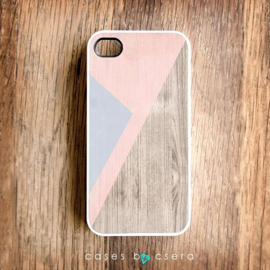 Unique iPhone Case, Wood iPhone 4 Case, Pastel iPhone Case, Peach Color Cell Phone Case Geometric Case, Lilac Abstract iPhone Cover