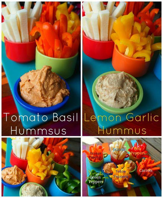 Low Calorie Hummus Made With Chobani Yogurt! Perfect for parties! Tomato Basil and Lemon Garlic!
